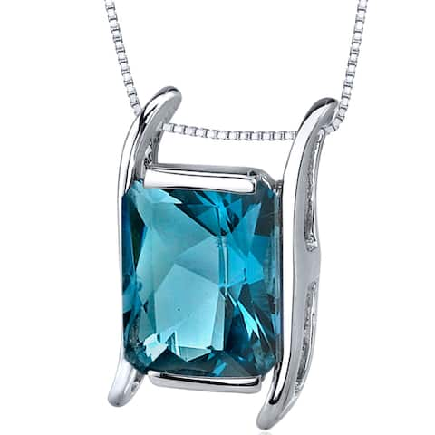 """Natural London Blue Topaz 3.75 Carats Pendant in Sterling Silver, 18"""""""