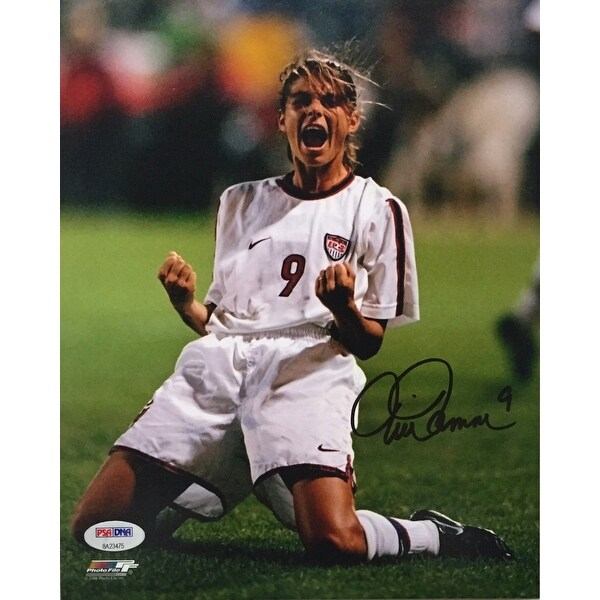 b726d16aa35 Shop Mia Hamm Signed USA Women s Soccer 8x10 Knee Slide Photo PSA ...