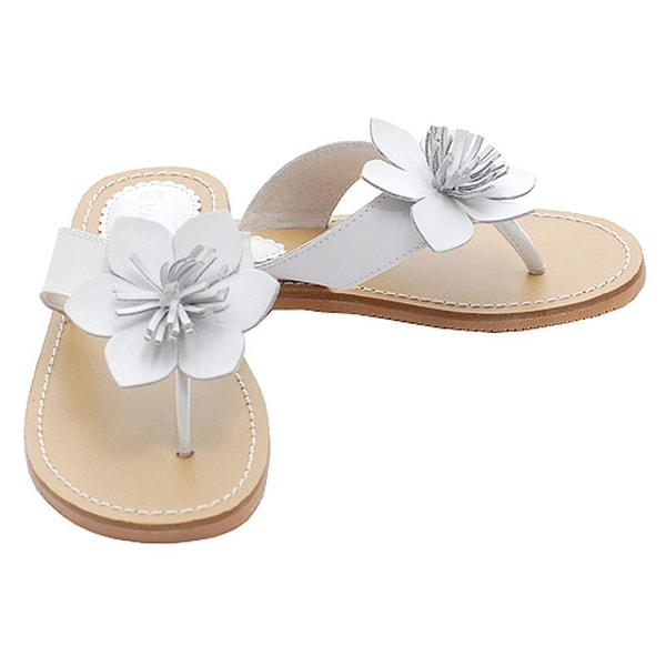 997255eafa6d Shop White Flower Flip Flops Spring Sandals Shoes Toddler Little Girls 7-4  - Free Shipping On Orders Over  45 - Overstock - 25600284