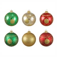 "6ct Glittered Fancy Floral Shatterproof Christmas Ball Ornaments 3.25"" (80mm) - multi"