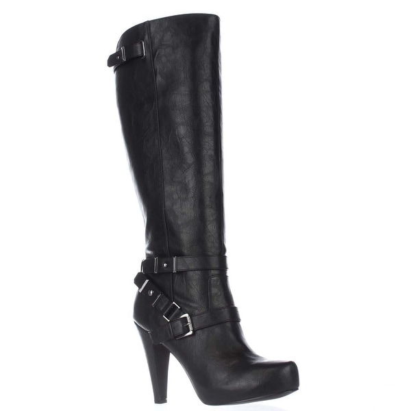 G by GUESS Theorry Platform Tall Strapped Boots, Black