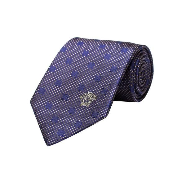 1da420345709 Shop Versace Men's Medusa Logo Textured Square Pattern Silk Neck Tie Navy/ Yellow - no size - Free Shipping Today - Overstock - 19398851