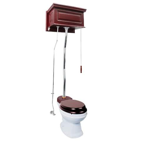 Cherry Wood Overhead High Tank Pull Chain Toilet White China Elongated Bowl