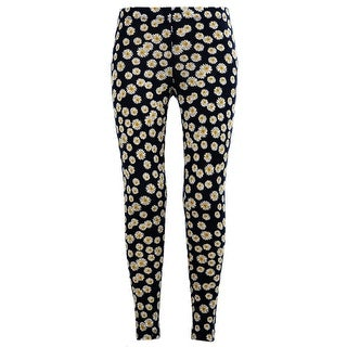 Girls Stretchy Leggings Trousers Navy Daisy