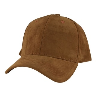 Suede Faux Mid Crown Curved Visor Velcro Adjustable Cap Hat - Light Brown