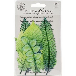 Mountain Pine - Prima Marketing Printed Fabric Leaf Embellishments 12/Pkg