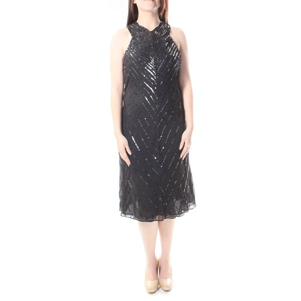 Ralph Lauren Womens Black Sequined, Zippered Sleeveless V Neck Below The Knee Shift Dress Size: 4