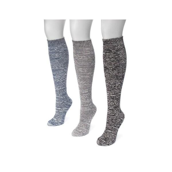 Muk Luks Socks Womens Diamond Knee High 3 pack One Size - One size