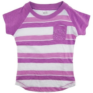 Star Ride Little Girls' Multicolor Stripes T-Shirt with Sequins