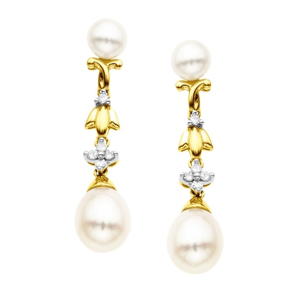 Freshwater Pearl and 1/10 ct Diamond Drop Earrings in 14K Gold
