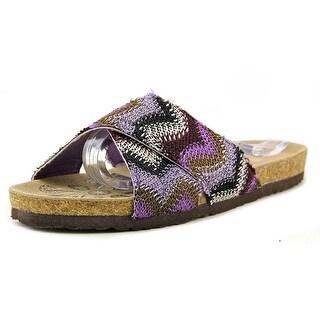 Muk Luks 16139 Open Toe Canvas Slides Sandal