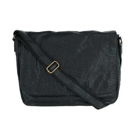 CTM® Men's Leather Messenger Bag - one size