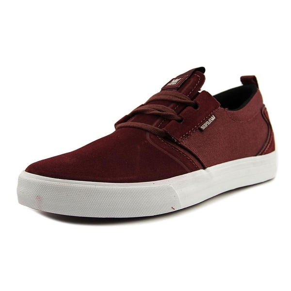 Supra Flow Men Round Toe Suede Burgundy Sneakers