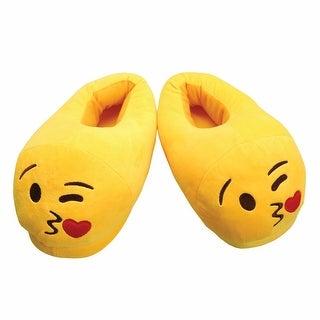 Women's Emojicon Wink Face Plush Yellow Slippers - Medium