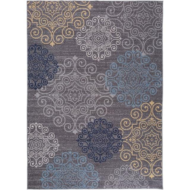 "Modern Floral Swirl Design Non-Slip Area Rug - 7'10"" x 10' - Gray"