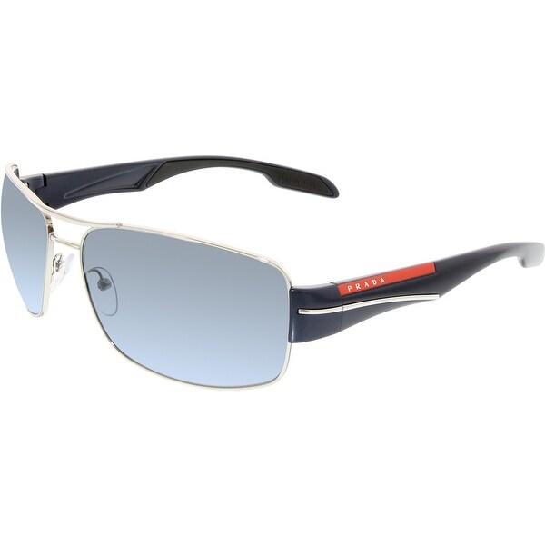 5003eefc807 Shop Prada Men s PS53NS-1BC5I1-65 Silver Rectangle Sunglasses - Free ...