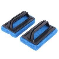 Household Kitchen Plastic Handle Sponge Cleaner Brush Cleaning Tool Blue 2 Pcs