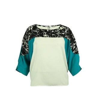 Calvin Klein Women's 3/4 Sleeve Top - Evergreen - 1X