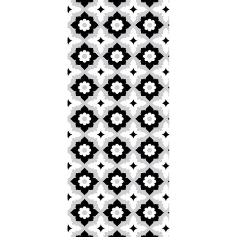 "18""X42"" Non Slip Designer Kitchen Art Mat, Stylish Floor Mat for Kitchen, Bathroom, Entryway, Black, White"