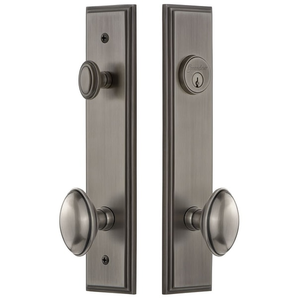 Grandeur CAREDN_TP_ESET_234 Carre Solid Brass Tall Plate Single Cylinder Keyed Entry Set with Eden Prairie Knob and 2-3/4""