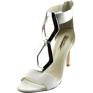BCBGeneration Cayce Women Open Toe Patent Leather White Sandals