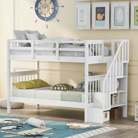 Stairway Twin-Over-Twin Bunk Bed with Storage and Guard Rail for Bedroom