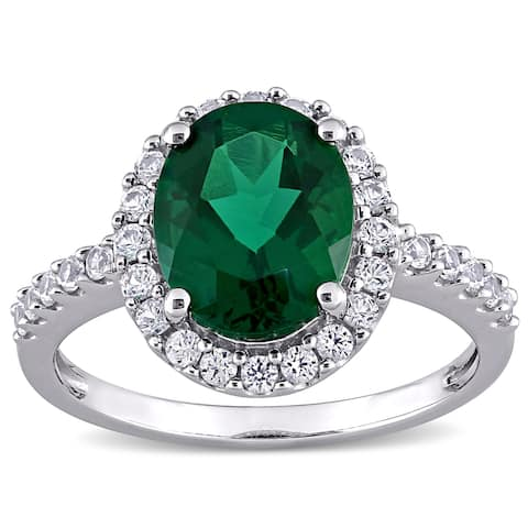 Miadora 10k White Gold Oval-cut Created Emerald and Created White Sapphire Halo Engagement Ring