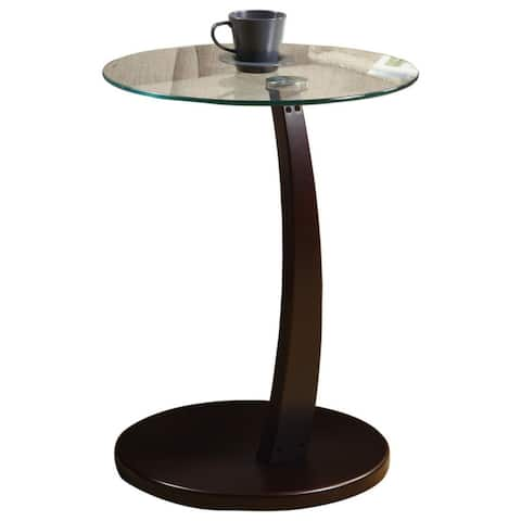 Offex Cappuccino Bentwood Accent Table with Tempered Glass