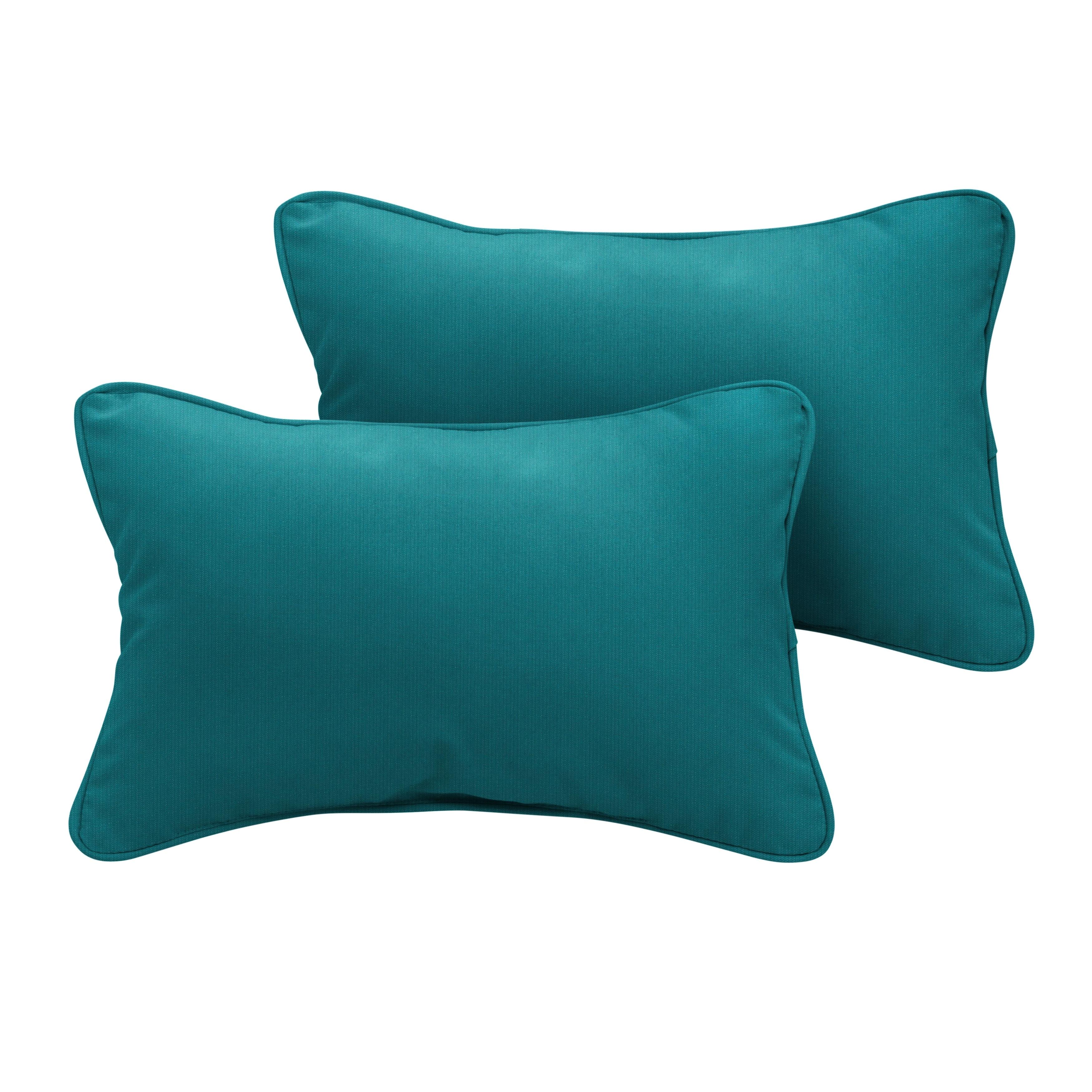 Sunbrella Spectrum Peacock Corded Indoor Outdoor Pillows Set Of 2 Overstock 27739968