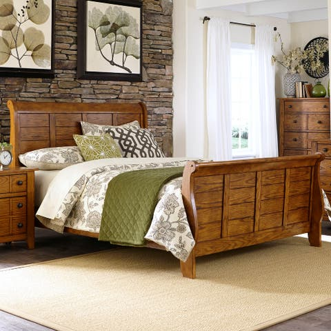 Copper Grove Epper Aged Oak California King Sleigh Bed
