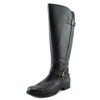 Naturalizer Joan Wide Calf Women W Round Toe Leather Black Knee High Boot
