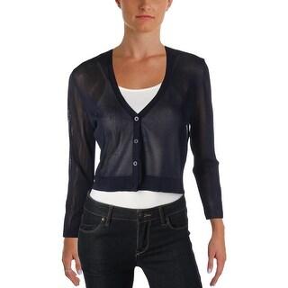 Lauren Ralph Lauren Womens Cardigan Sweater Sheer Crop