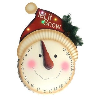 "21"" LED Lighted ""Let it Snow"" Snowman Face Christmas Countdown Advent Calendar"