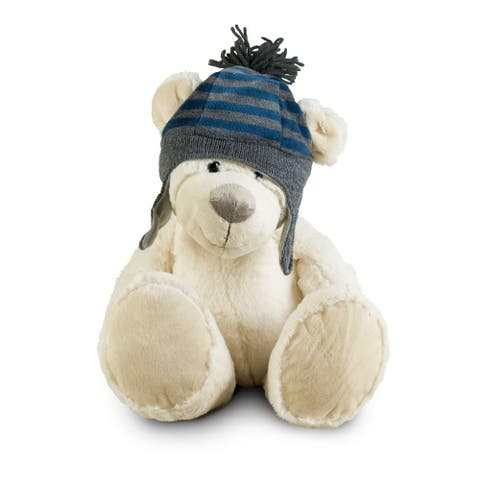 Winter White 12 inch Bear with Blue Snow Hat - 6.0 in. x 10.0 in. x 16.0 in.