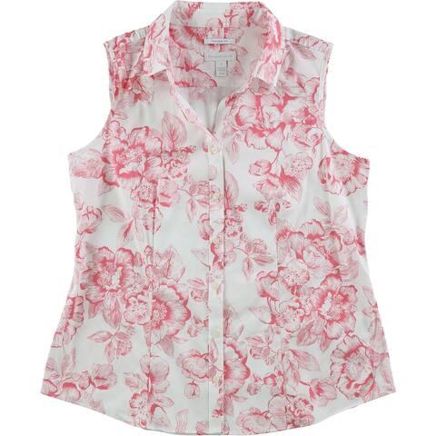 Charter Club Womens Print Button Up Shirt, pink, 10
