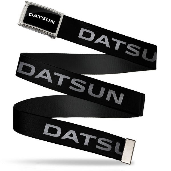 Datsun Text Fcg Black White Chrome Datsun Text Black White Webbing Web Belt