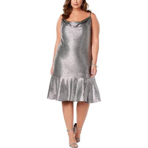 NW Nightway Womens Plus Flounce Dress Metallic Drape Neck - Black/Silver