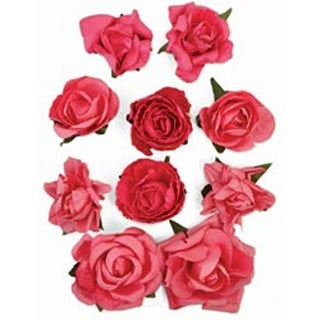 """Hot Pink - Paper Blooms 1"""" To 1.5"""" 10/Pkg"""