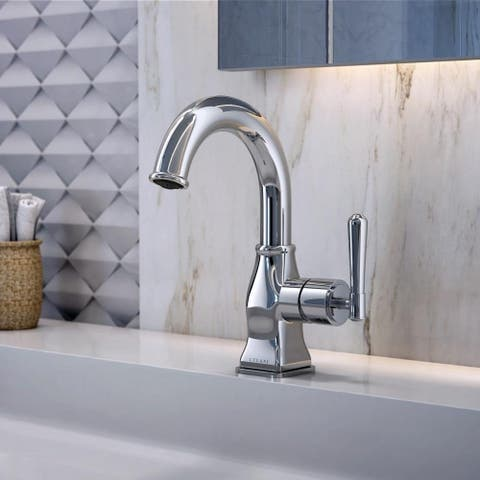 Aurora Collection. Single handle bathroom faucet. Brushed Nickel finish. By Lulani
