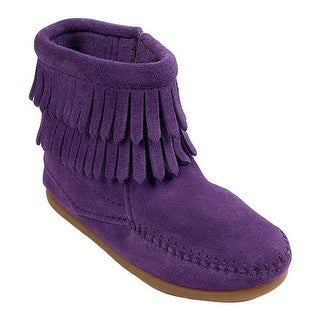 Minnetonka Children's Side Zip Double Fringe Purple Suede