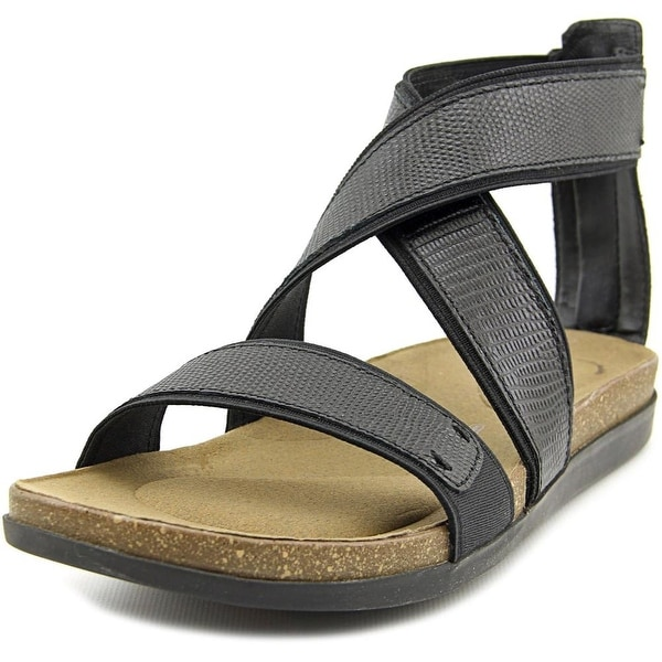 Rockport Romilly Gore Zip Sandal Women Open Toe Canvas Black Gladiator Sandal