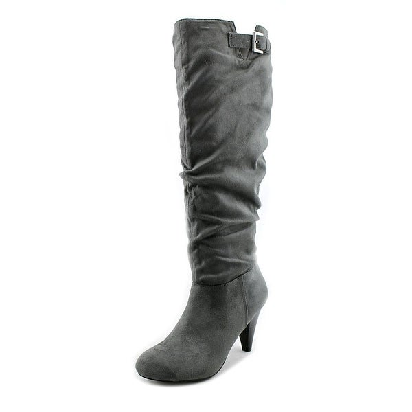 Nine West Tarrah Women Round Toe Canvas Gray Knee High Boot
