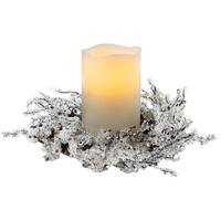 Apothecary 1434186 Christmas Centerpiece with Candle Holders, White, 8""