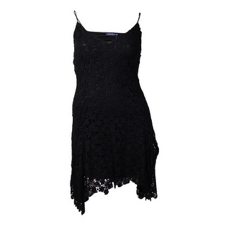 Polo Ralph Lauren Women's Floral Lace Sleeveless Dress (L, Polo Black)