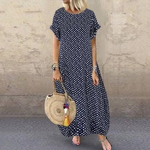 Women O Neck Short Sleeve Dot Printing Dress With Pockets Maxi Dress