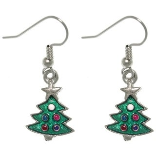 Pewter Christmas Tree Dangle Earrings