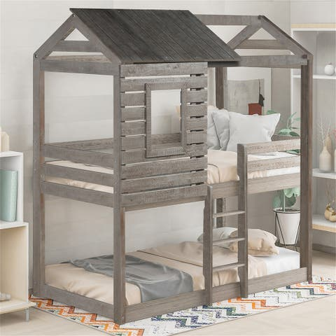 Twin Over Twin Bunk Bed Wood Loft Bed Bedroom Furniture