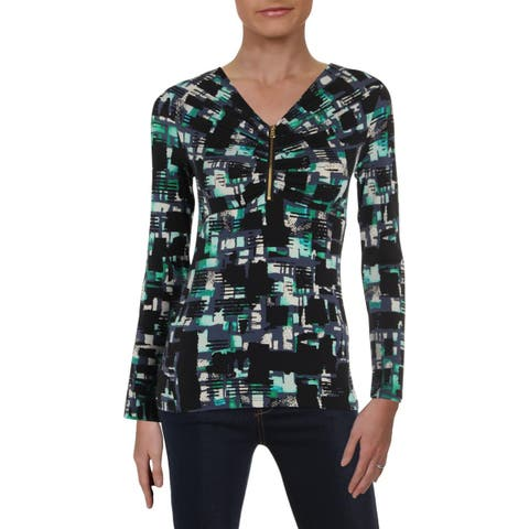 Donna Karan Womens Pullover Top Printed Zip Front