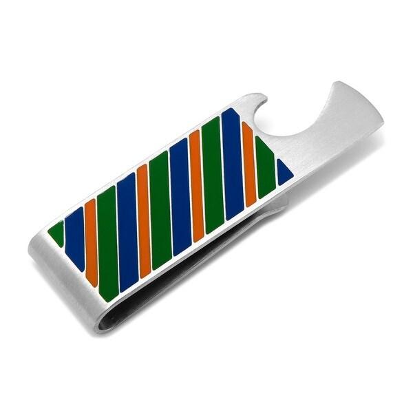Varsity Stripes Blue, Green, and Orange Money Clip