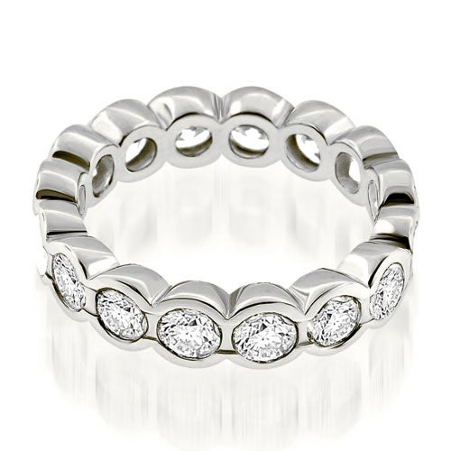 3.20 cttw. 14K White Gold Stylish Bezel Set Round Cut Diamond Eternity Ring